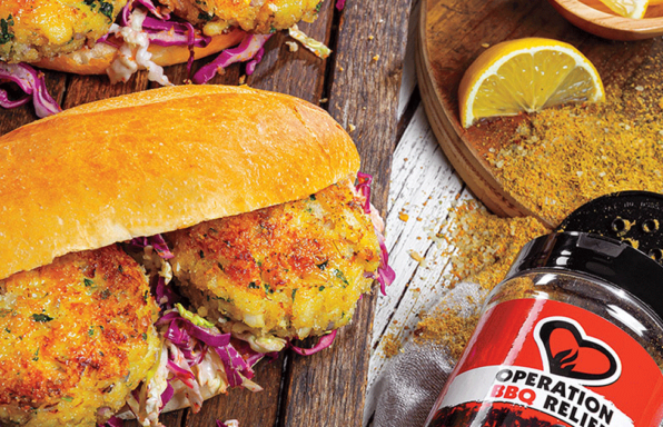 Cuban-Inspired Crab Cake Po' Boys with Mojo Slaw